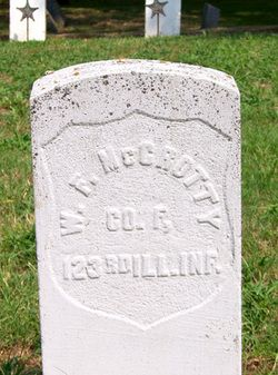 "Inscription: W F McCROTTY COMPANY H 123rd ILLINOIS INFANTRY    Note: VETERAN - US CIVIL WAR - UNION ARMYBurial: Oakwood Cemetery Parsons, Labette County, Kansas, USA | Murder victim of the ""Bloody Benders"". His body, along with the bodies of several other victims, were buried at the Bender farm/inn."