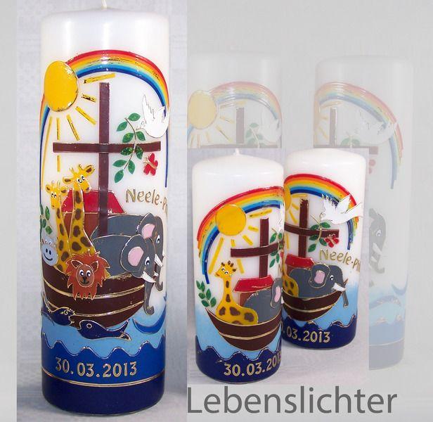 Taufkerzen Set, Arche Noah mit 2 Patenkerzen von Lebenslichter auf DaWanda.com