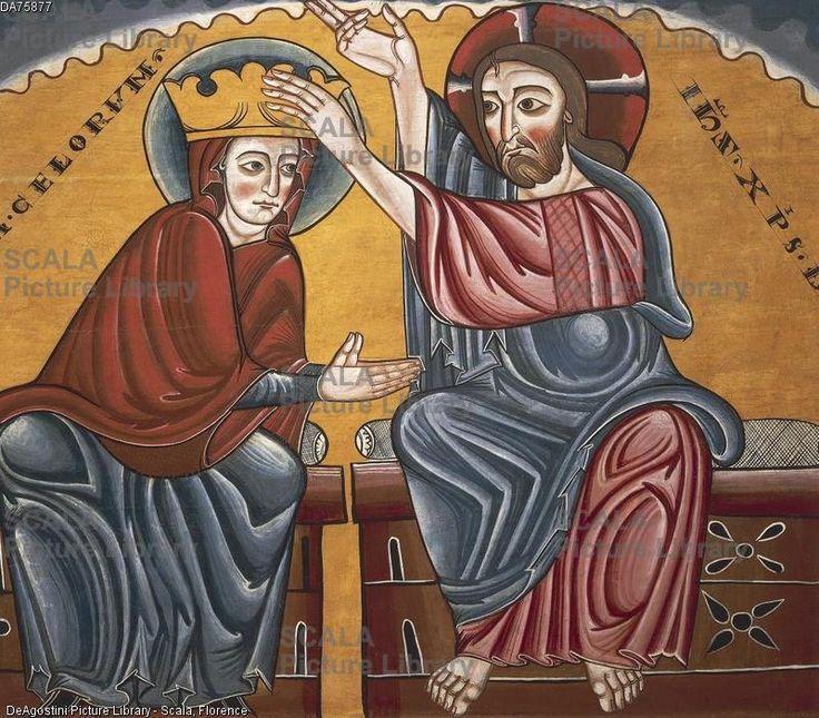 ******** Cristo incorona Maria Vergine, del Maestro di Lluca, XIII secolo, altare proveniente dal Monastero di Santa Maria di Lluca, tempera su legno. Arte romanica catalana.
