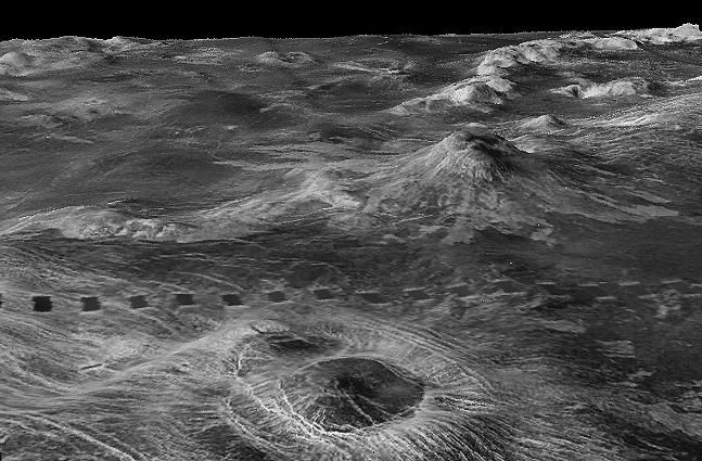 Three-dimensional perspective views of Venusian Terrains composed of reduced resolution left-looking synthetic-aperture radar images merged with altimetry data from the Magellan spacecraft. #awesome
