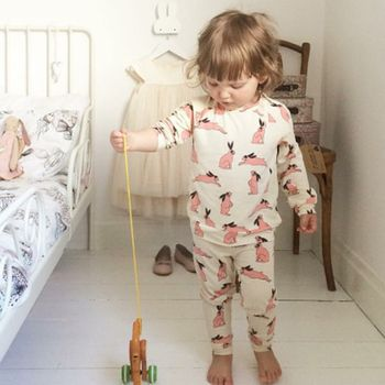 PHB50356 baby girls cotton sleepwear new funny pajamas