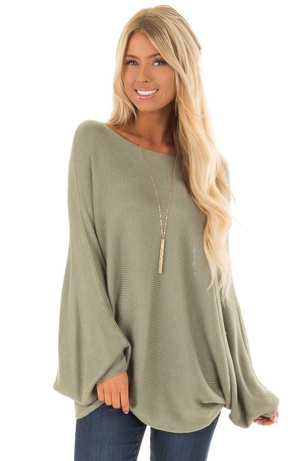 b2d1fac601392e Lime Lush Boutique - Olive Lightweight Sweater with Dolman Sleeves