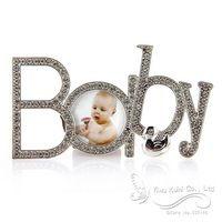 Nuovo sveglio del rhinestone del bambino infantile foto cornice regalo di compleanno 16x9 cm
