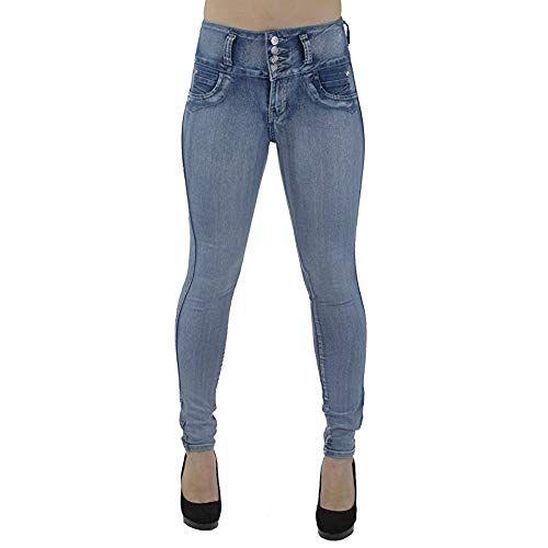 Pantalon Jean Femme Taille Haute Slim Chic Koly Boutons Denim Jeans Crayon  Skinny Stretch Femmes rétro 84d3d95196f
