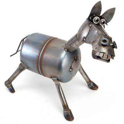 Bucky the horse sculpture from scrap metal