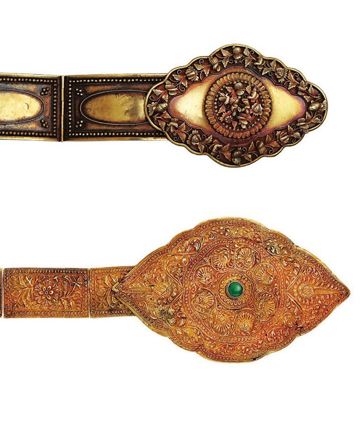 Indonesia | Top) Belt with swirling floral roundel from South Sumatra or Batavia. Late 19th to early 20th century. Silver gilt. Bottom) Belt with stylised lotus flowers from Sumatra. 19th century. Gold | Both Peranakan Chinese craftsmanship || Source: 'Gold Jewellery of the Indonesian Archipelago'; Pg 340