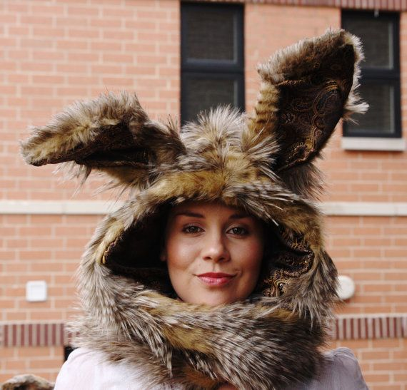 I totallly need this!!!! The March Hare rabbit hoodie scarf with mittens by ToppedHats, $84.00
