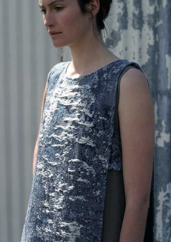 Rebekah Archer | Sustainable fashion design. Hand woven Jacquard using naturally dyed indigo silk and linen. Zero waste garment pattern. www.loricadesign.com