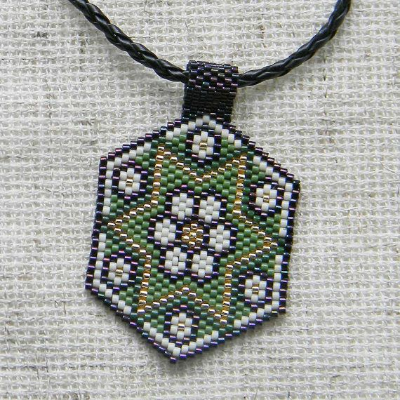 Seed bead pendant / necklace, flower design, green, beige, gold.