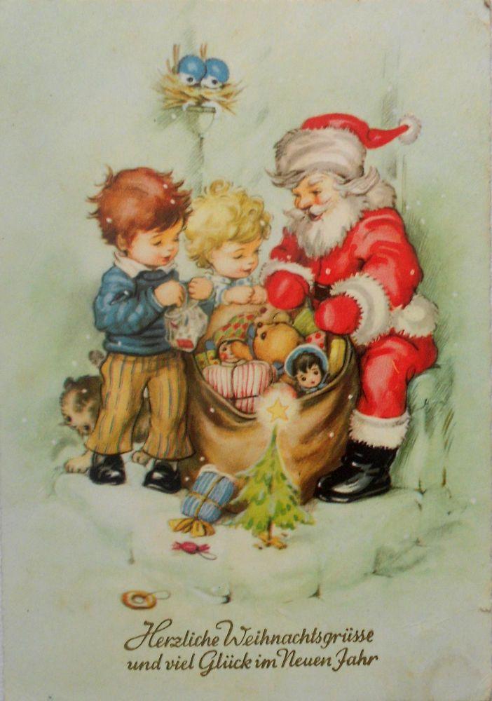 Religiöse Weihnachtskarten.Josefine Batke Koller Weihnachtsmann Mit Geschenkesack Kinder