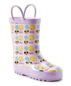 Purple Emoji Rain Boot