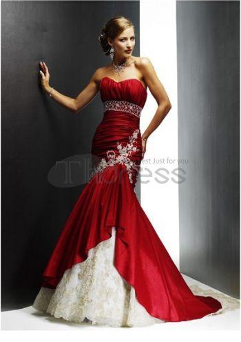 Abiti da Sposa Colorati-Sirena treno taffetà pizzo abiti da sposa colorati