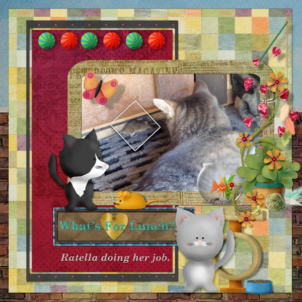 This is for Part 2 of Elizabeth's May 2017 Dancing With Letters Challenge.  I lifted the Cute Home Is Where My Dragon Is by Elkfan.  I used Pet Me! Kitty by Elizabeth's Market Cross.