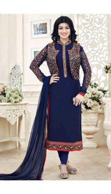Decent Ayesha Takia Navy Blue Georgette Churidar Suit With Dupatta - DMV14823