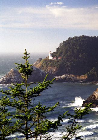 Heceta Head lighthouse north of Florence, Oregon. It's a must to see and walk the path to the caretaker's home and lighthouse.