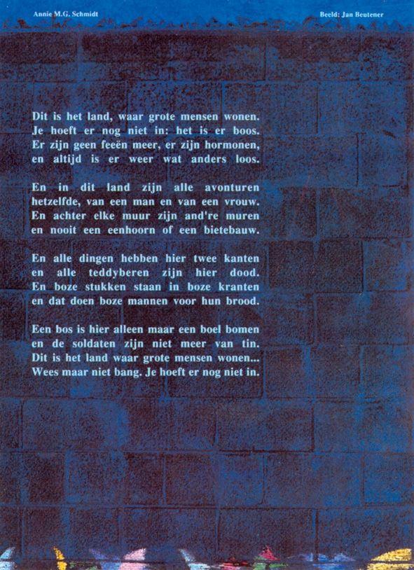 Aan de muur - Adriepoëzieposters - Adriepoëzieposters Dit is het land Annie M.G. Schmidt - Plint