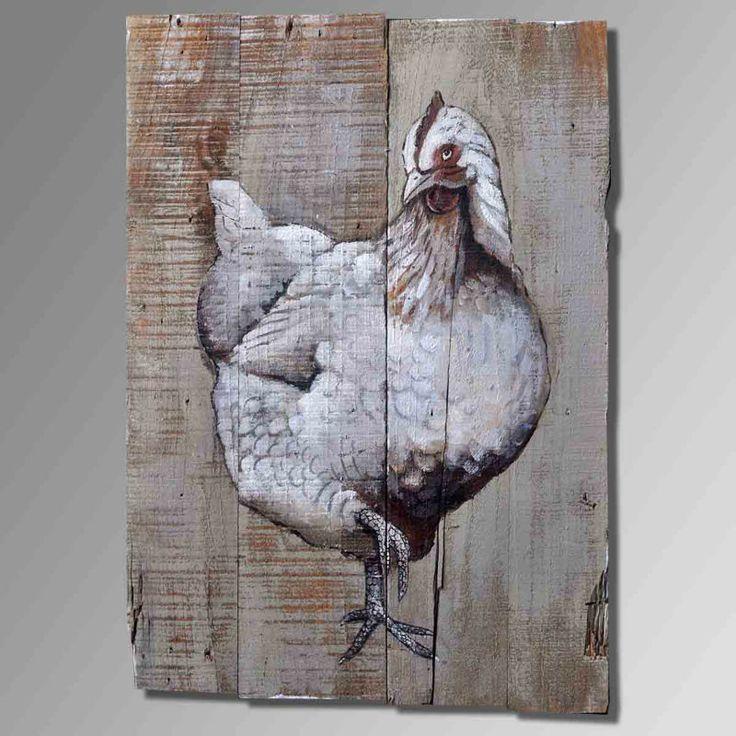 Kip schilderij. Hoge kwaliteit abstracte kunst schilderen op hout. 100 % met de hand gemaakt high- end home decor kunst schilderen