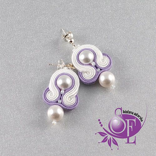 Littel soutache earrings - white - lavender by SzkatulkaEmi on Etsy