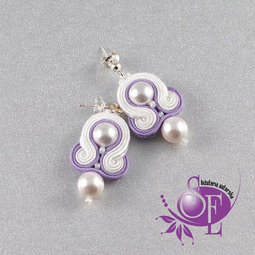 Littel soutache earrings - white - lavender by SzkatulkaEmi on Etsy