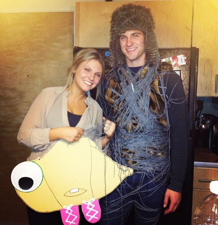 """Marcel the Shell and piece of lint- couple Halloween costume  """"Lint is a shells best friend""""  #marceltheshell #coupleshalloween #costume"""