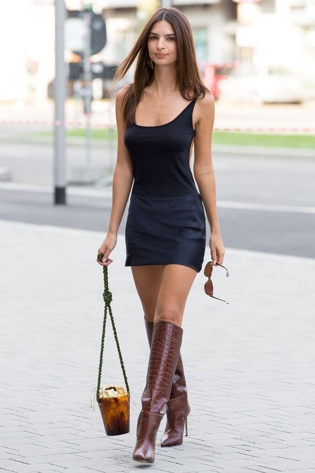 Emily Ratajkowski In Little Black Dress And Tall Tan Boots Emily Ratajkowski Fashion Mini Dress