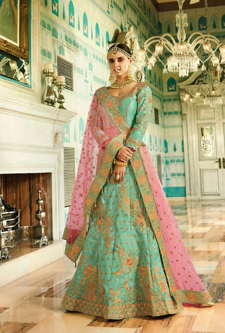 44a6e364c9ce09 Featuring green bridal lehenga set with heavy intricate thread embroidery  on top, back, bottom and dupatta.. TOP: Khadi Silk BOTTOM: Khadi Silk  DUPATTA: Net ...