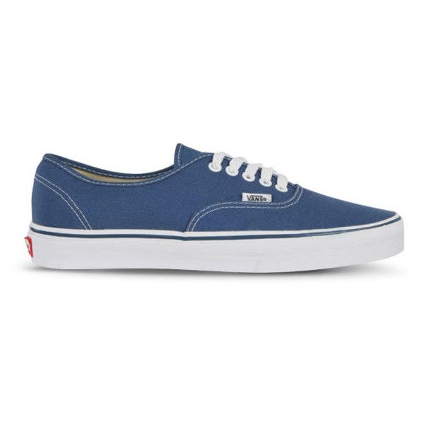 Vans Authentic Canvas Trainers - Navy featuring polyvore, fashion, shoes, sneakers, vans, zapatos, sapatos, navy, print sneakers, vans trainers, vans sneakers, low tops and grip trainer