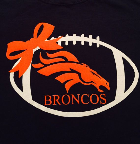 Our Broncos shirt is a 100% heavy cotton long sleeve t-shirt. The shirt is navy adorned with a white glitter heat transfer football along with an