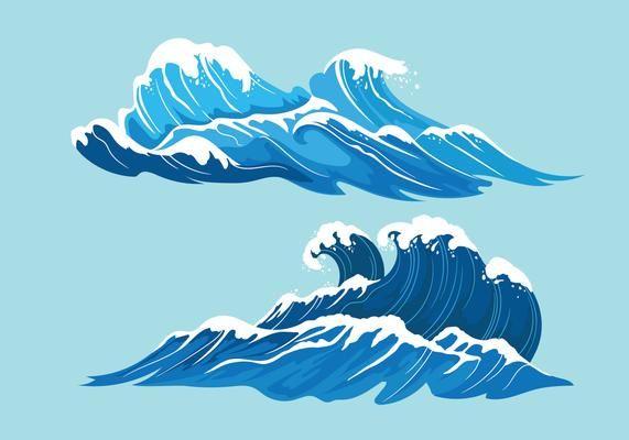 Establecer La Ilustracion De Alta Mar Con Olas Gigantes Ilustracion De Mar Mar Animado Ilustracion De Olas