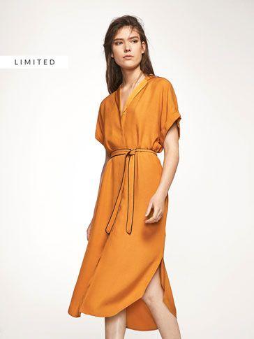 SENFFARBENES HEMDKLEID für DAMEN - Kleider und Overalls auf Massimo Dutti für  Frühling Sommer 2017 für 99.95. Natürliche Eleganz!