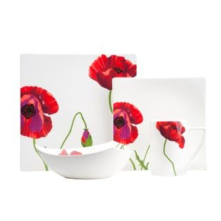 Shop for Red Vanilla Summer Sun White Bone China Dinner Set (Case of 16). Get free delivery at Overstock.com - Your Online Kitchen