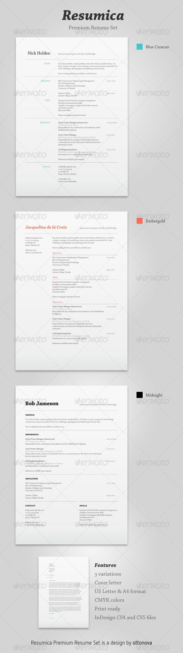 27 best Indesign Resume Templates images on Pinterest | Curriculum ...