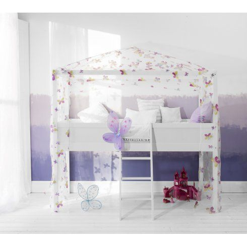 Butterflies Mid sleeper Cabin Bed 4 Poster Canopy Frame and Tent in Butterflies Design £199