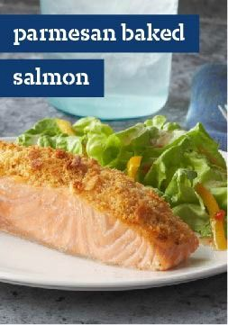 Parmesan Baked Salmon — This baked salmon recipe is both irresistible and easy. Serve with a side green salad to round out a delicious meal!