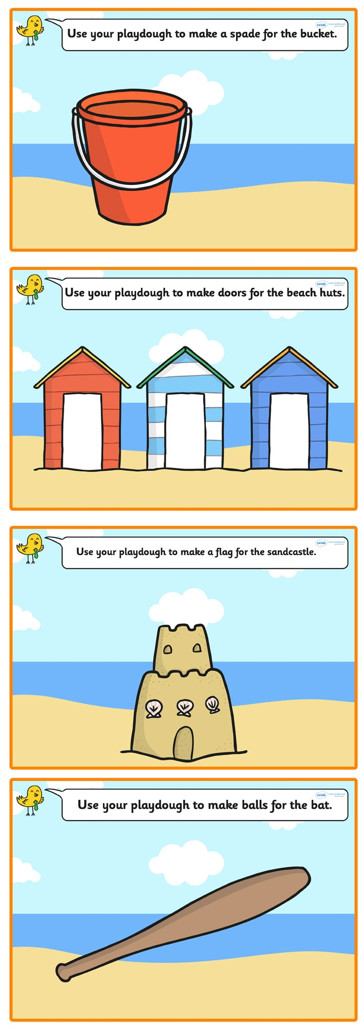 Seaside Playdough Mats  - Pop over to our site at www.twinkl.co.uk and check out our lovely Seaside primary teaching resources! seaside, display, playdough mats #Seaside #Seaside_Resources