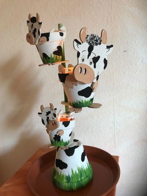 tontoepfe mit den kantenocker kuh lustig gestaltet