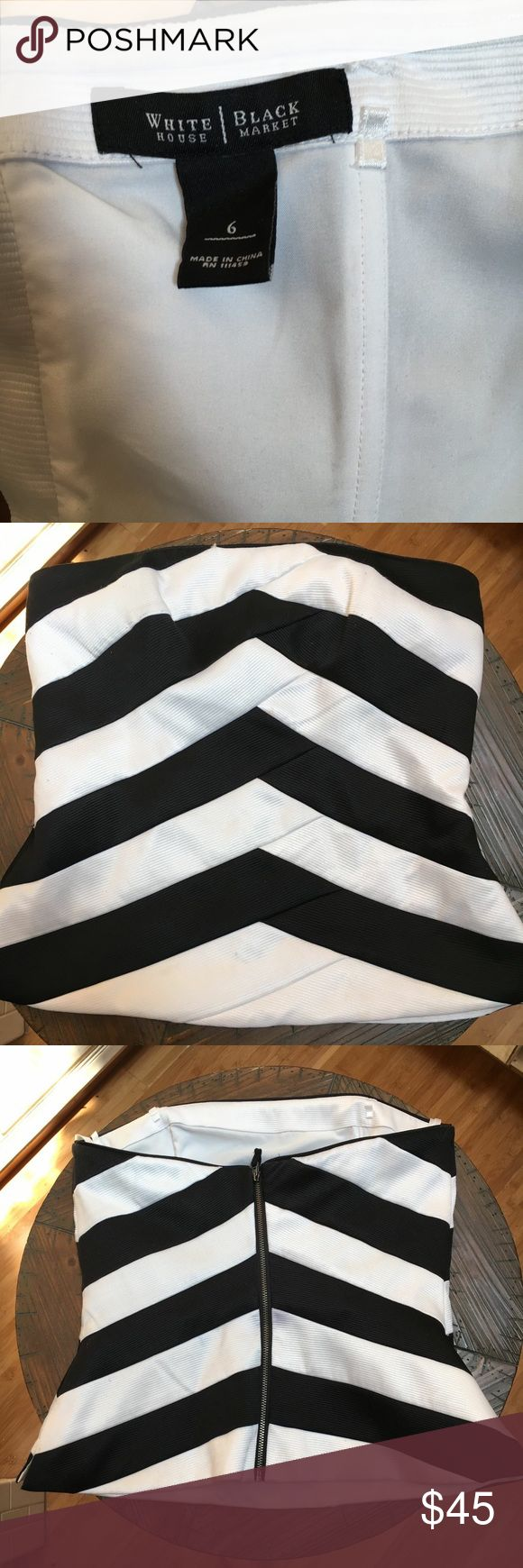 Formal top White House Black Market black and white sleeveless top. Great for formal occasions or with jeans. Size 6. Gently worn. White House Black Market Tops