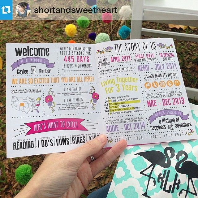 Love a good infographic wedding program! #Repost from @shortandsweetheart