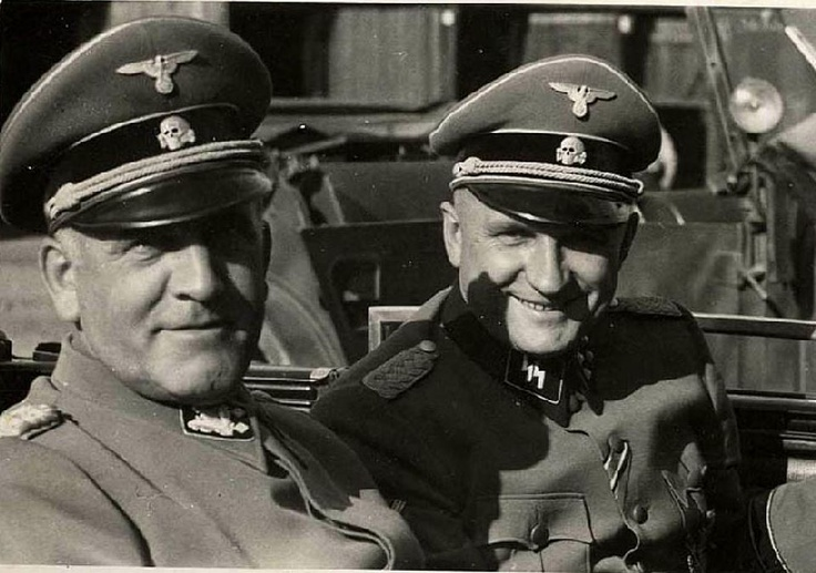 SS-Sturmbannführer (major) Richard Baer (right) with Oswald Pohl. Baer was the commandant of the Auschwitz I concentration camp from May 1944 to February 1945. After the war, he made himself scarce and found a job as a forester. In 1960 he was recognized and arrested. He died in prison of a heart attack in 1963.