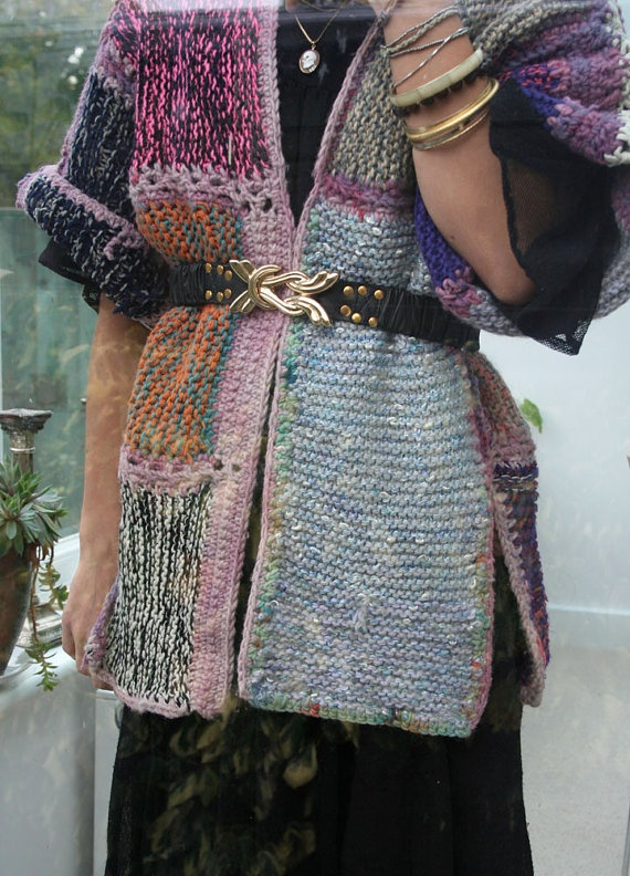 Hand Knitted & Crochet Patchwork Kimono Coat
