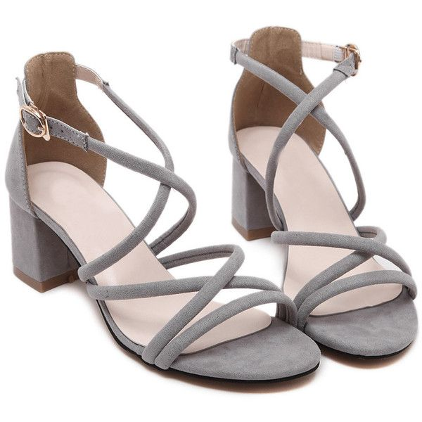 Gray Open Toe Strappy Gladiator Chunky Sandals ❤ liked on Polyvore featuring shoes, sandals, heels, scarpe, grey sandals, gladiator shoes, strap heel sandals, chunky heel shoes and strappy heeled sandals