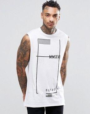 Camiseta larga sin mangas con estampado de bandera de ASOS