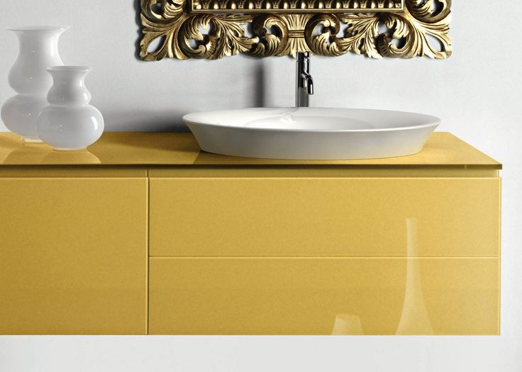 Modern yellow bath vanity and countertop sink by Artelinea / Monolite 2.0 Collection