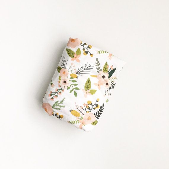 Crib Sheet Sprigs and Blooms. Fitted Crib Sheet. Baby Bedding. Crib Bedding. Minky Crib Sheet. Crib Sheets. Floral Crib Sheet.