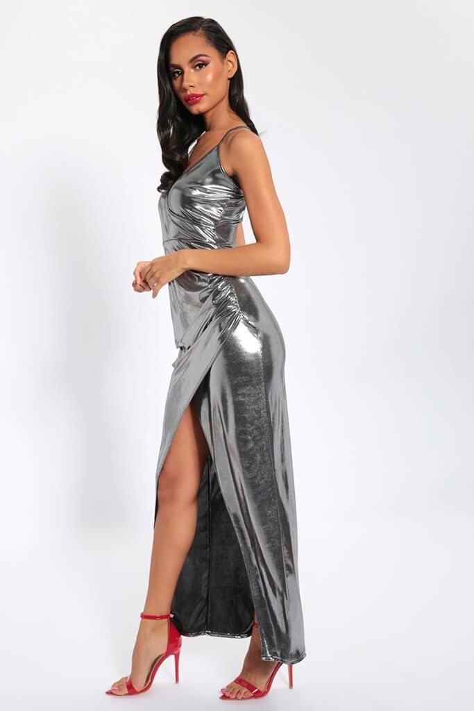 9adf55354e Silver plunge neck foiled maxi dress in 2019