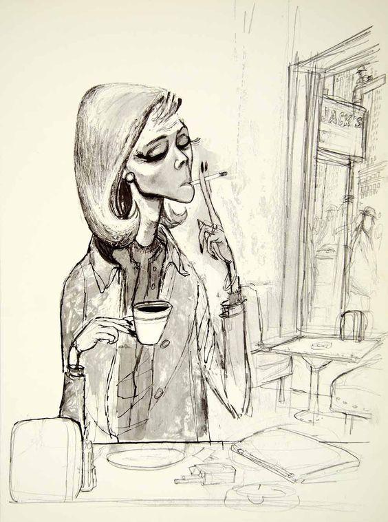 1960 Print Erich Sokol Morning Coffee Shop Cigarette Smoking Woman Caricature #smoking #dame