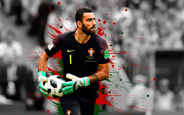 Download wallpapers Rui Patricio, 4k, Portugal national football team, goalkeeper, art, splashes ...