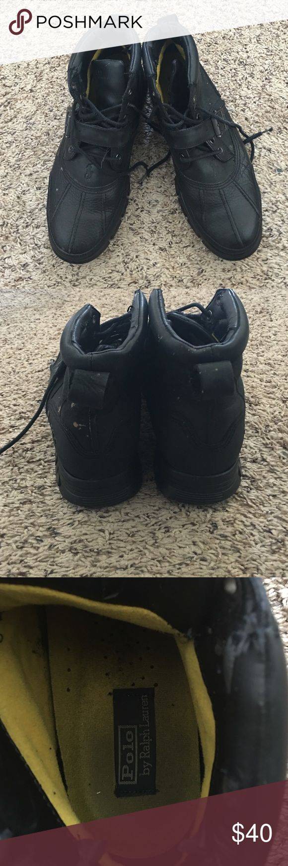 Black Leather Polo Boots for Men! Black Leather Polo by Ralph Lauren boot for Men! Great condition! Polo by Ralph Lauren Shoes Boots