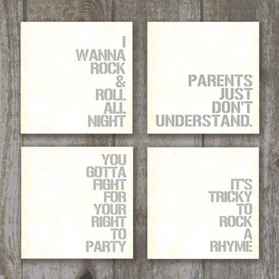 Rock 'N Roll Lyrical Nursery Set of 4 by lilmissmaddiedesigns, $35.00