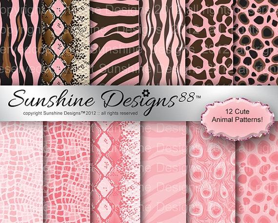 Animal Zebra Background Scrapbook Digital by SunshineDesigns88, $3.98